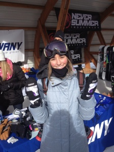 Brita rocks some Toast 3N1 mitts from Swany Gloves at the Dew Tour