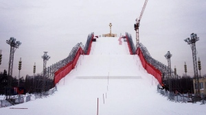 The parallel slalom course in Moscow is built on a huge ramp.